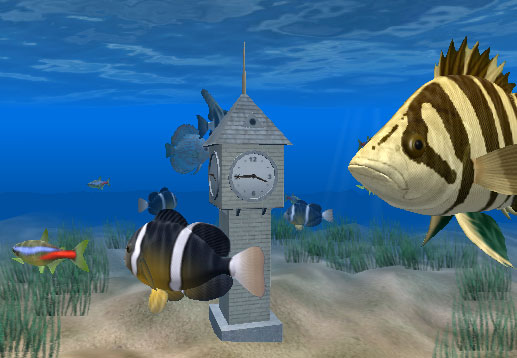 Click to view Aquarium Clock 3D Screensaver 1.0.2 screenshot